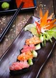 Japanese Salmon sushi and sauce closeup Royalty Free Stock Image
