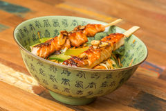 Japanese salmon yakitori with noodles Royalty Free Stock Photo