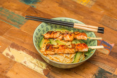 Japanese salmon yakitori with noodles Royalty Free Stock Image