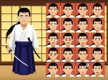 Japanese Samurai Cartoon Emotion faces Vector Illustration Stock Photography