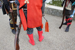 Japanese samurai clothing uniform with old rifle. KAGAWA, JAPAN - NOVEMBER 20: Ancient firelock rifle fighters at Marugame Historical battle Festival, event Stock Photo