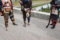 Japanese samurai clothing uniform with old rifle. KAGAWA, JAPAN - NOVEMBER 20: Ancient firelock rifle fighters at Marugame Historical battle Festival, event Royalty Free Stock Photo