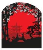 Japanese Samurai fighters card. Vector Illustration Royalty Free Stock Photo