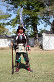 Japanese samurai with fire lock rifle. KAGAWA, JAPAN - OCTOBER 25: Ancient firelock rifle fighters at Marugame Historical battle Festival, event dedicated to Royalty Free Stock Image