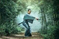 The Japanese samurai are gripping the sword, preparing to fight. stock photos