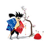 Japanese samurai heart. The heart of this samurai is broken Stock Photo