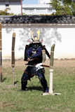 Japanese samurai with katana sword Stock Images