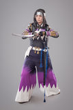 Japanese samurai with katana sword Stock Photography