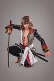Japanese samurai with katana sword. Stock Photos
