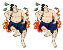 Japanese Samurai with leaf and dragon tattoo full body.Hand drawn Traditional Japanese men vector. Traditional Japanese men Stock Photos