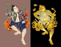 Japanese Samurai with leaf and dragon tattoo full body.Hand drawn Traditional Japanese men vector. Traditional Japanese men Stock Images