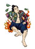 Japanese Samurai with leaf and dragon tattoo full body.Hand drawn Traditional Japanese men vector. Traditional Japanese men Royalty Free Stock Photography