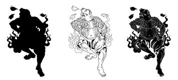 Japanese Samurai with leaf and dragon tattoo full body.Hand drawn Traditional Japanese men vector. Traditional Japanese men Royalty Free Stock Image