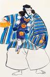 Japanese Samurai man in traditional clothes. Historical clothes - Japanese Samurai man in traditional clothes stylized under print of Utagawa Kuniyoshi 1849 year Royalty Free Stock Photo