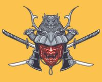 Japanese Samurai Mask with crossed swords Royalty Free Stock Photography