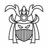 Japanese samurai mask icon, outline style Royalty Free Stock Images