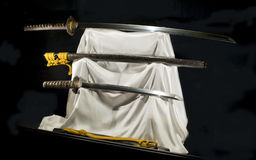 Japanese samurai swords katana and vakizasi Royalty Free Stock Photos