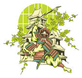 Japanese samurai. Vector illustration ideal for printing on apparel clothes Stock Images