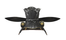 Japanese samurai warrior helmet isolated. Stock Image