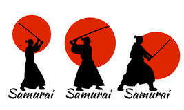 3 Japanese Samurai Warriors Silhouette with katana sword on Red. Moon. Vector illustration Royalty Free Stock Photo