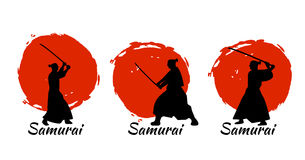 Japanese Samurai Warriors Silhouette. Vector illustration. Japanese Samurai Warriors Silhouette with katana sword on Red Moon. Vector illustration Stock Images