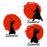 Japanese Samurai Warriors Silhouette. Vector illustration. Japanese Samurai Warriors Silhouette with katana sword on Red Moon. Vector illustration Royalty Free Stock Photo