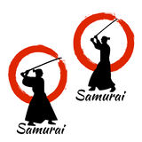 Japanese Samurai Warriors Silhouette. Vector illustration. Japanese Samurai Warriors Silhouette with katana sword on Red Moon. Vector illustration Stock Photo