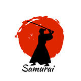 Japanese Samurai Warriors Silhouette. Vector illustration. Japanese Samurai Warriors Silhouette with katana sword on Red Moon. Vector illustration Royalty Free Stock Image