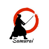 Japanese Samurai Warriors Silhouette. Vector illustration. Japanese Samurai Warriors Silhouette with katana sword on Red Moon. Vector illustration Royalty Free Stock Photography