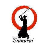 Japanese Samurai Warriors Silhouette. Vector illustration. Japanese Samurai Warriors Silhouette with katana sword on Red Moon. Vector illustration Stock Image