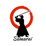 Japanese Samurai Warriors Silhouette. Vector illustration. Japanese Samurai Warriors Silhouette with katana sword on Red Moon. Vector illustration Royalty Free Stock Images