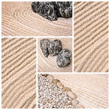 Japanese sand and stone garden photo collage Stock Image