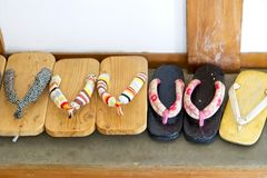 Japanese sandal of wood or shoes called Geta, Traditional Japanese footwear. stock image