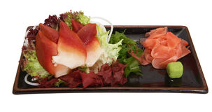 Japanese sashimi. With salad isolated on white Royalty Free Stock Images