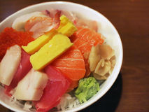 Japanese Sashimi with Rice. Japanese style assorted seafood rice bowl Royalty Free Stock Images