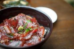 Japanese sashimi rice Tekkadon Stock Photo