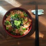 Japanese sashimi salmon rice Royalty Free Stock Image