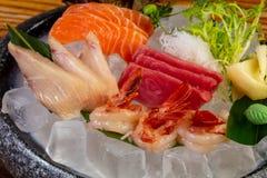 Japanese Sashimi set. On ice royalty free stock photo