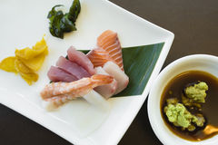Japanese sashimi with wasabi and pickles Royalty Free Stock Photo