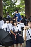Japanese School Children on Visit to Temple Stock Image