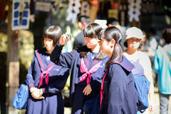 Japanese school girls in Kyoto. KYOTO, JAPAN, OCTOBER 09,2016 : Japanese school girls in Kyoto with sunny day stock photography