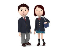 Boy and Girl uniformed school students. 3D illustration. Japanese school students happiness lifestyle. 3D illustration Royalty Free Stock Photos