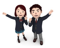 Boy and Girl uniformed school students. 3D illustration. Japanese school students happiness lifestyle. 3D illustration Royalty Free Stock Photo