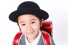 Japanese Schoolgirl With Red Satchel Smiles Stock Photography