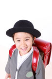 Japanese Schoolgirl With Red Satchel Smiles Royalty Free Stock Photo