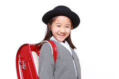 Japanese Schoolgirl With Red Satchel Smiles Stock Images