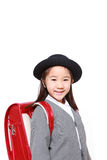 Japanese Schoolgirl With Red Satchel Smiles Stock Image