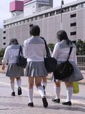Japanese schoolgirls group royalty free stock images