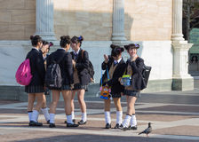 Japanese schoolgirls royalty free stock photos