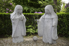 Japanese sculptures. Two japanese sculptures made of natural stone stock photo